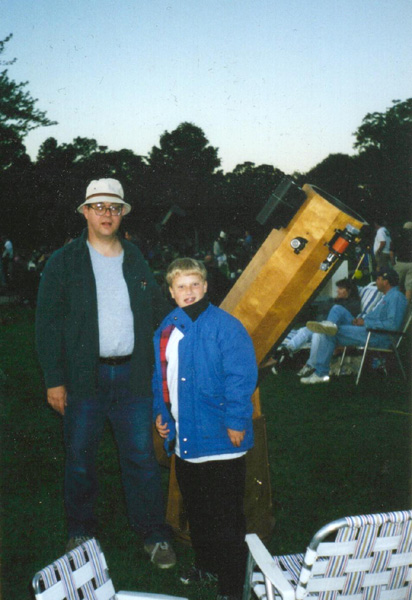 Father and Son with Homemade 10-Inch Dobsonian Telescope