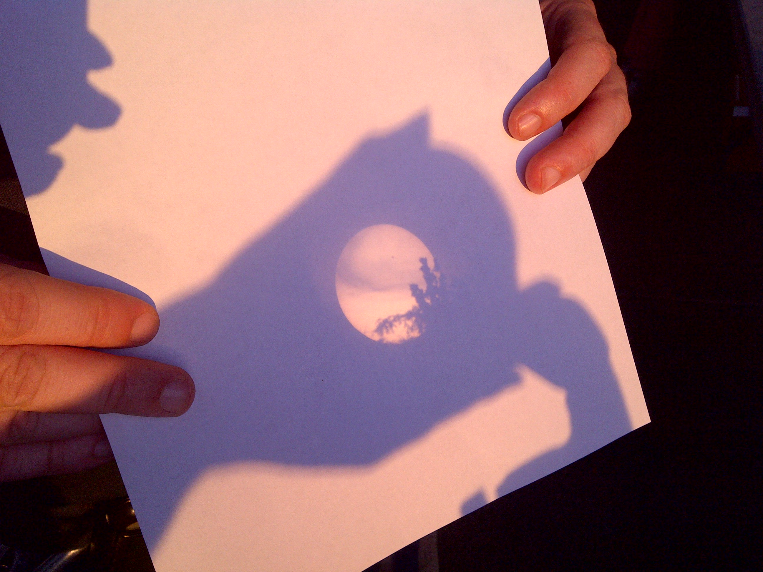 Image of the Sun with cloud and tree shadows.
